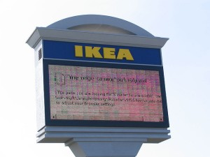 broken digital IKEA store sign